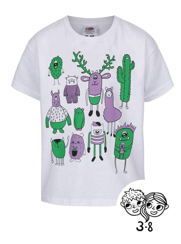 Tricou de fete ZOOT Kids Monsters alb