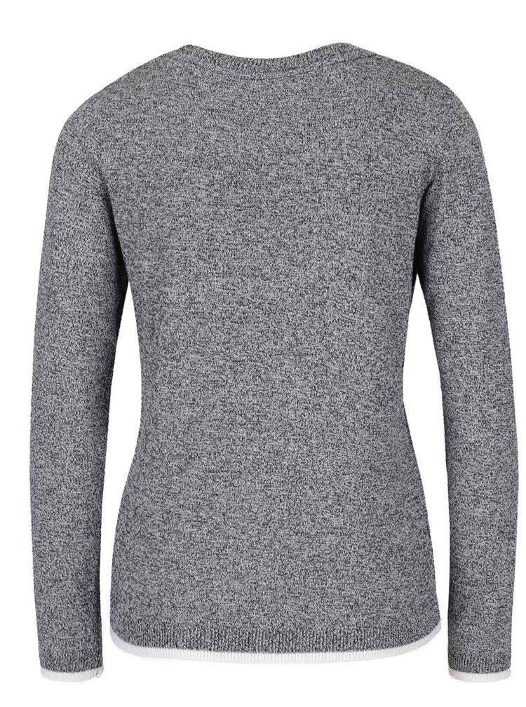 Sivý melírovaný sveter s plastickou potlačou Dorothy Perkins