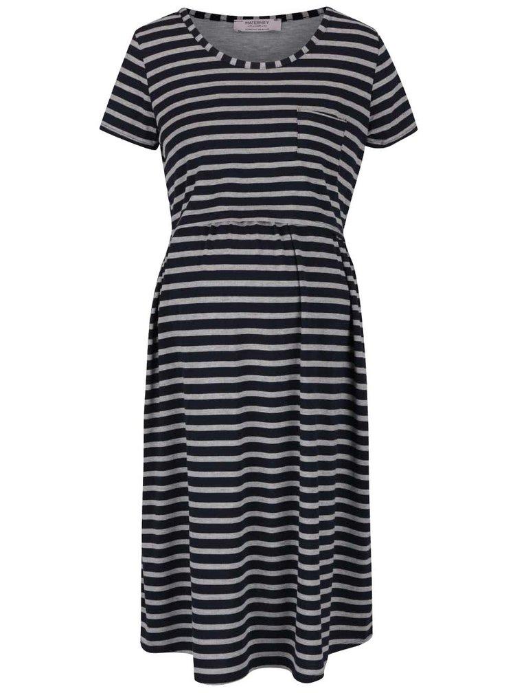 Modré těhotenské/kojící pruhované šaty Dorothy Perkins Maternity