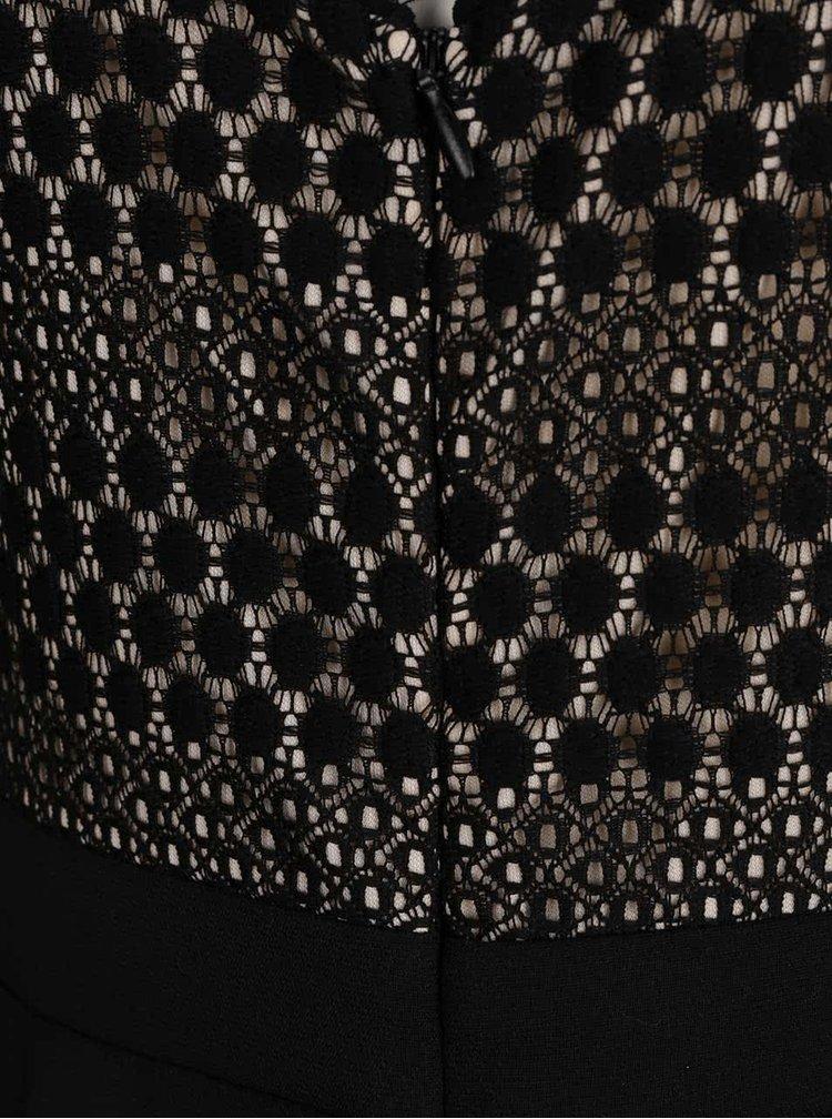 Černý overal s krajkovými detaily Dorothy Perkins