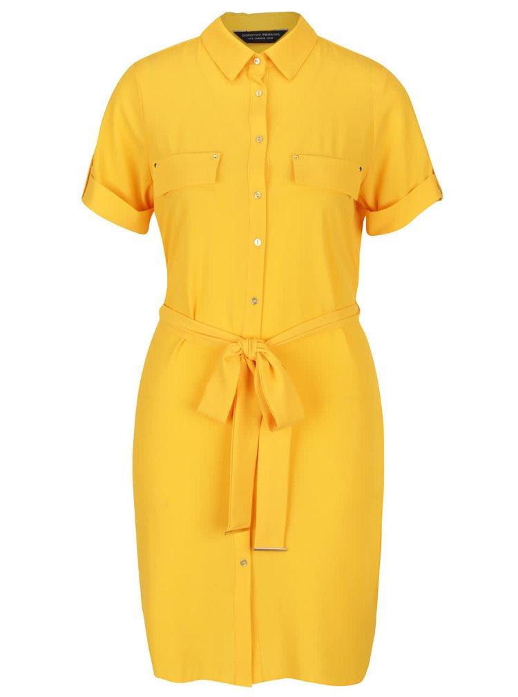 Rochie cămașă galbenă Dorothy Perkins cu cordon