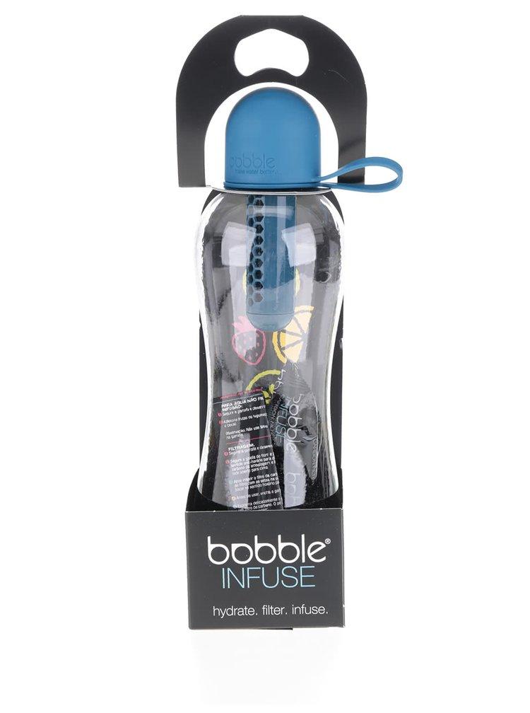Modrá přenosná filtračníl láhev se silikonovým víčkem Bobble