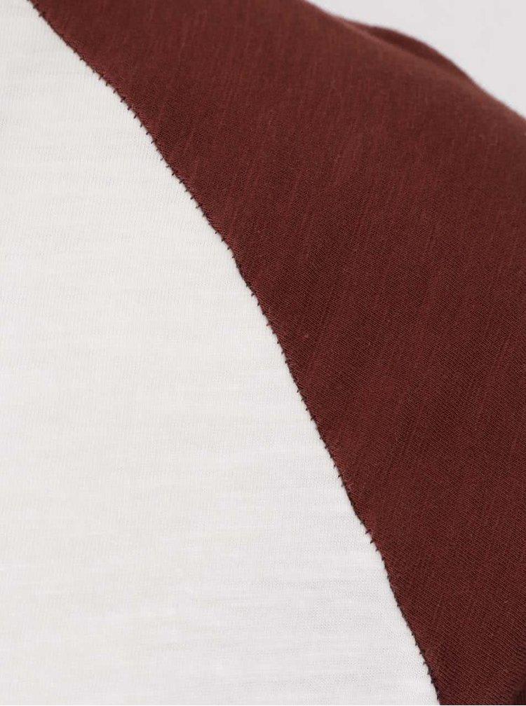 Krémové tričko s hnedými rukávmi Jack & Jones Fu Sean