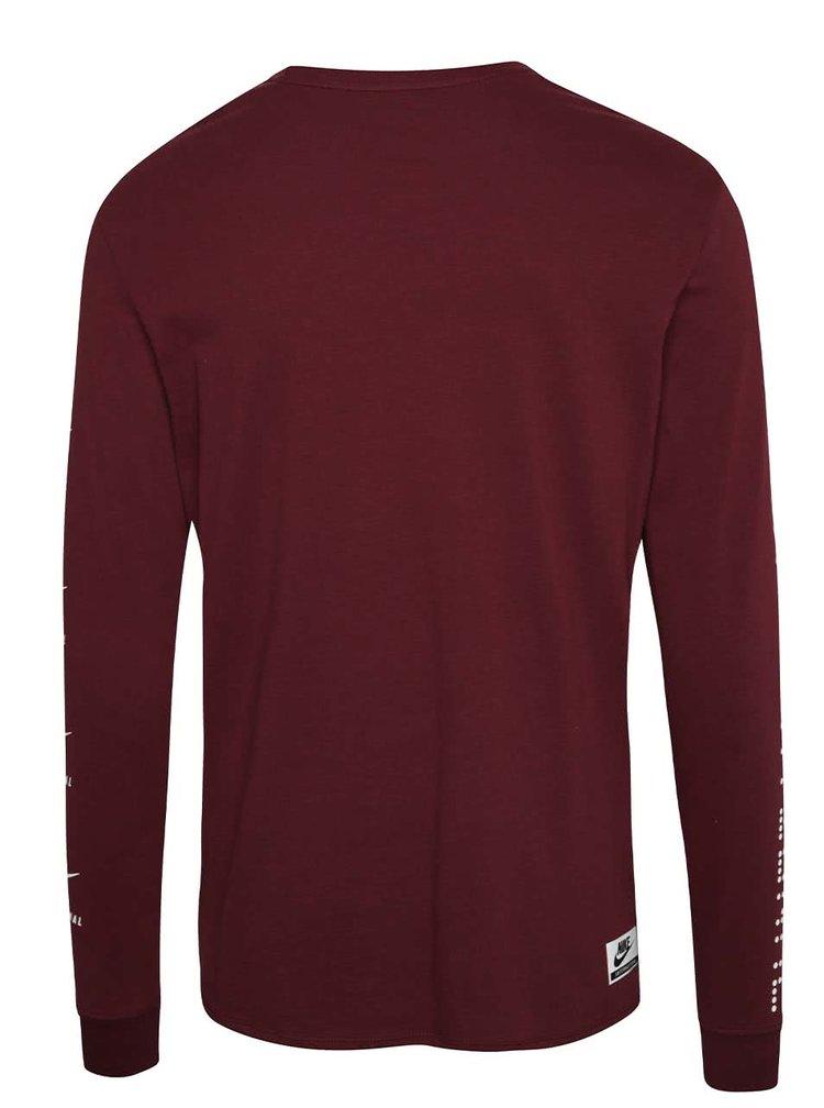 Vínové pánské triko s dlouhým rukávem Nike Internationalist