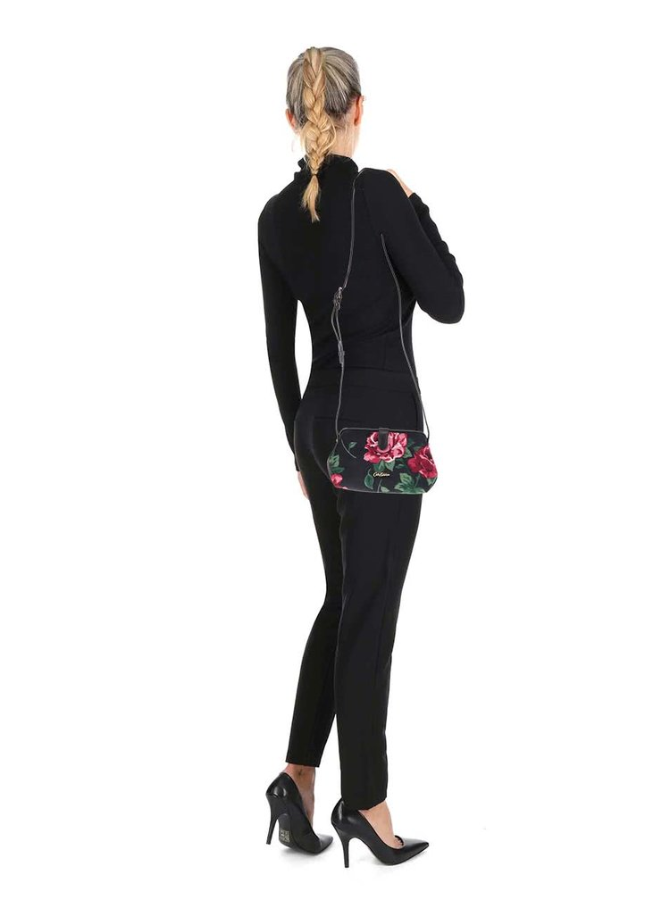 Černá malá květovaná crossbody kabelka Cath Kidston