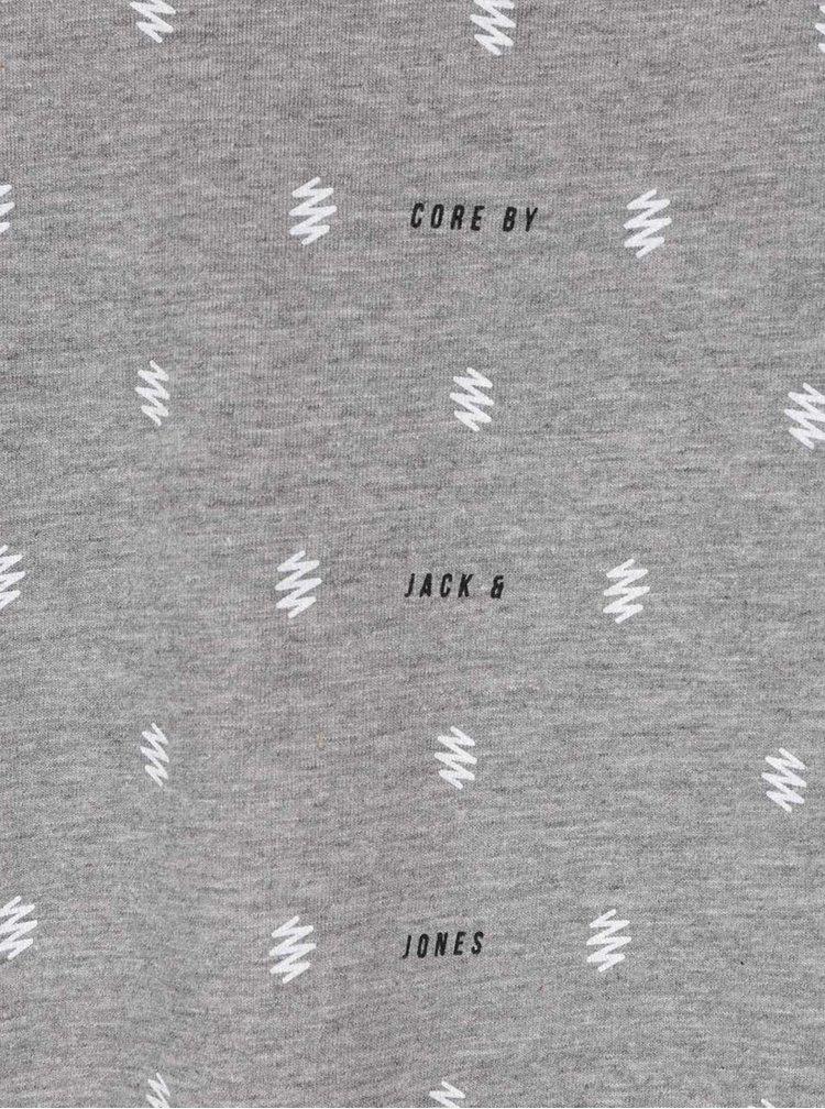 Světle šedé žíhané triko se vzorem Jack & Jones Stockholm