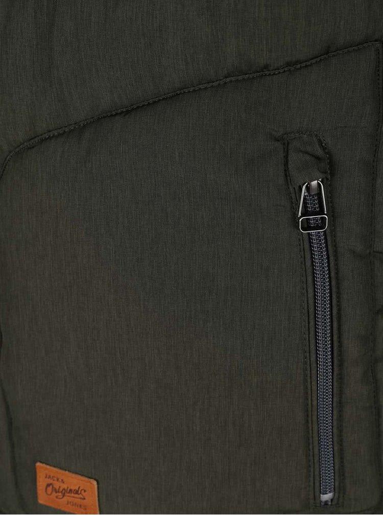 Zelená prošívaná bunda s kapucí Jack & Jones Favorite