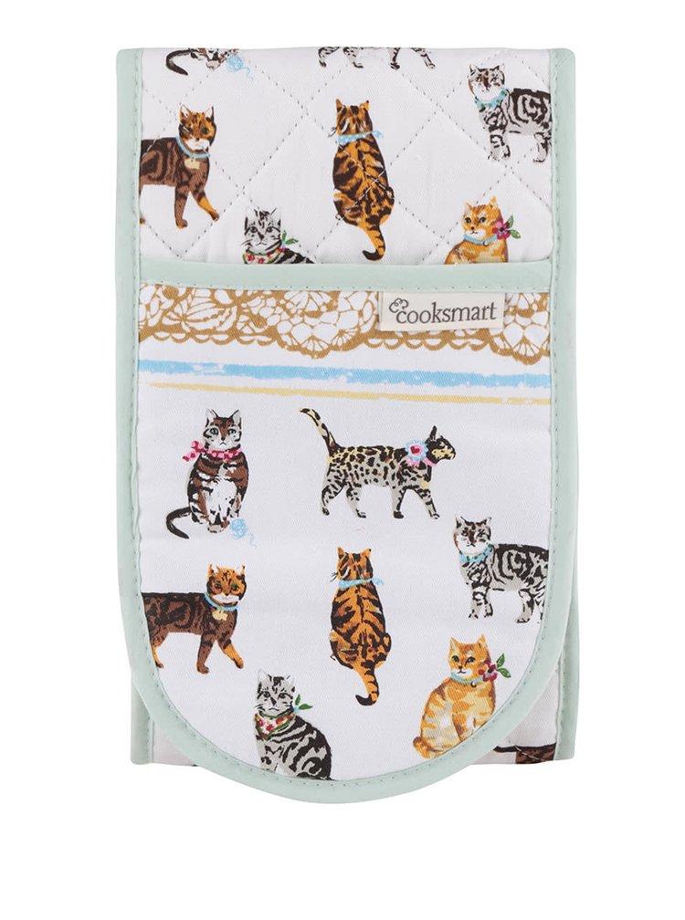 Zeleno-bílé chňapky s motivem koček Cooksmart Cats on Parade