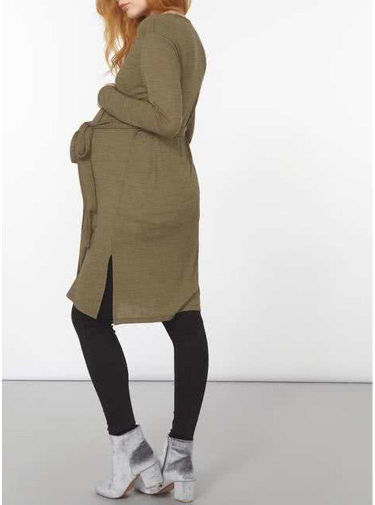 Kaki tehotenský kardigan so zaväzovaním Dorothy Perkins Maternity