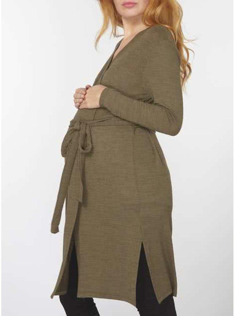 Khaki těhotenský cardigan se zavazováním Dorothy Perkins Maternity