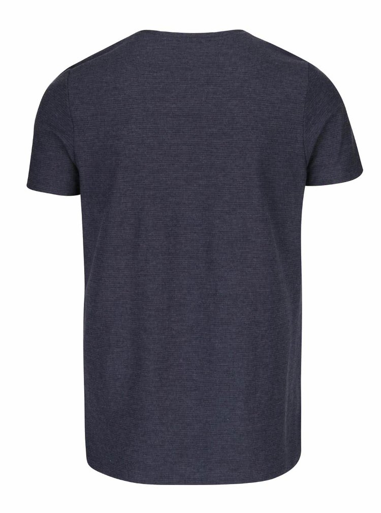 Tricou bleumarin Jack & Jones Wellington cu model discret