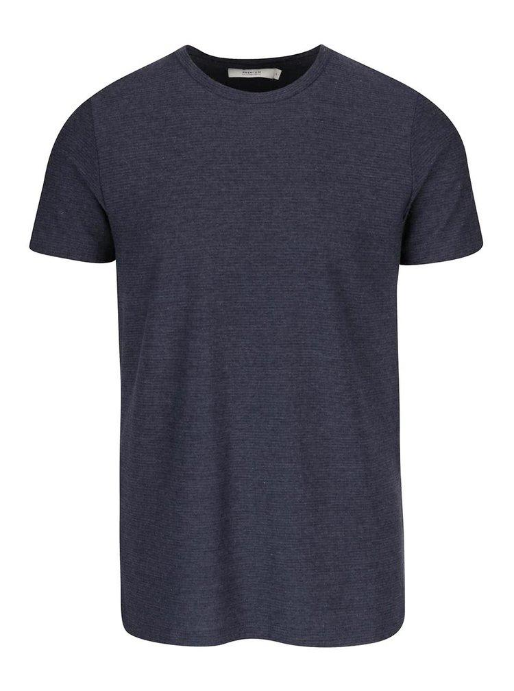 Tmavomodré rebrované tričko Jack & Jones Wellington