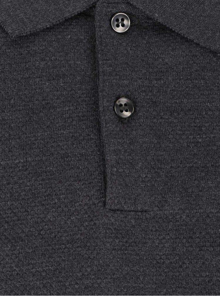 Tmavě šedé polo triko s dlouhým rukávem Jack & Jones Bright