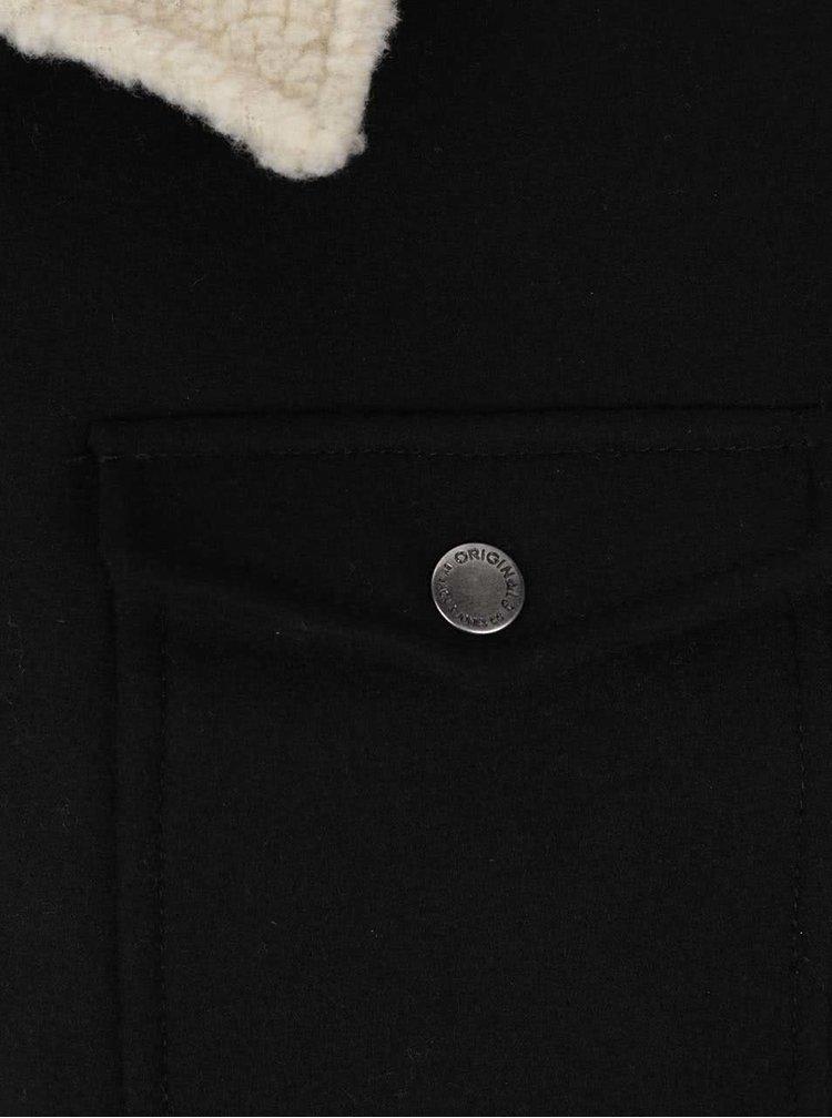 Černá vlněná bunda s kapsami Jack & Jones Glen