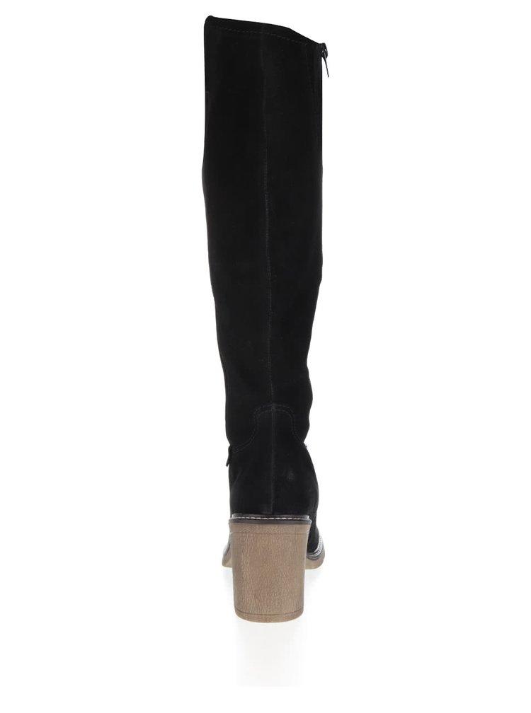 Černé dámské kožené kozačky na podpatku bugatti Adina