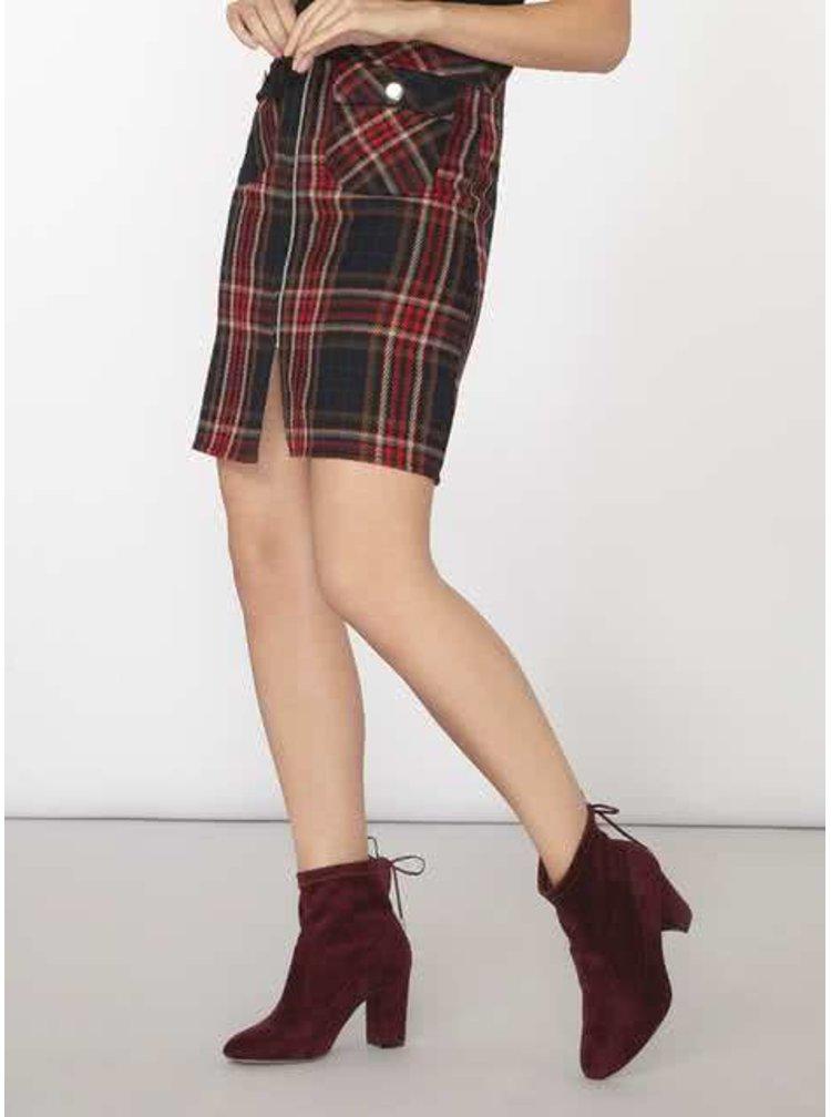 Červeno-černá kostkovaná sukně na zip Dorothy Perkins
