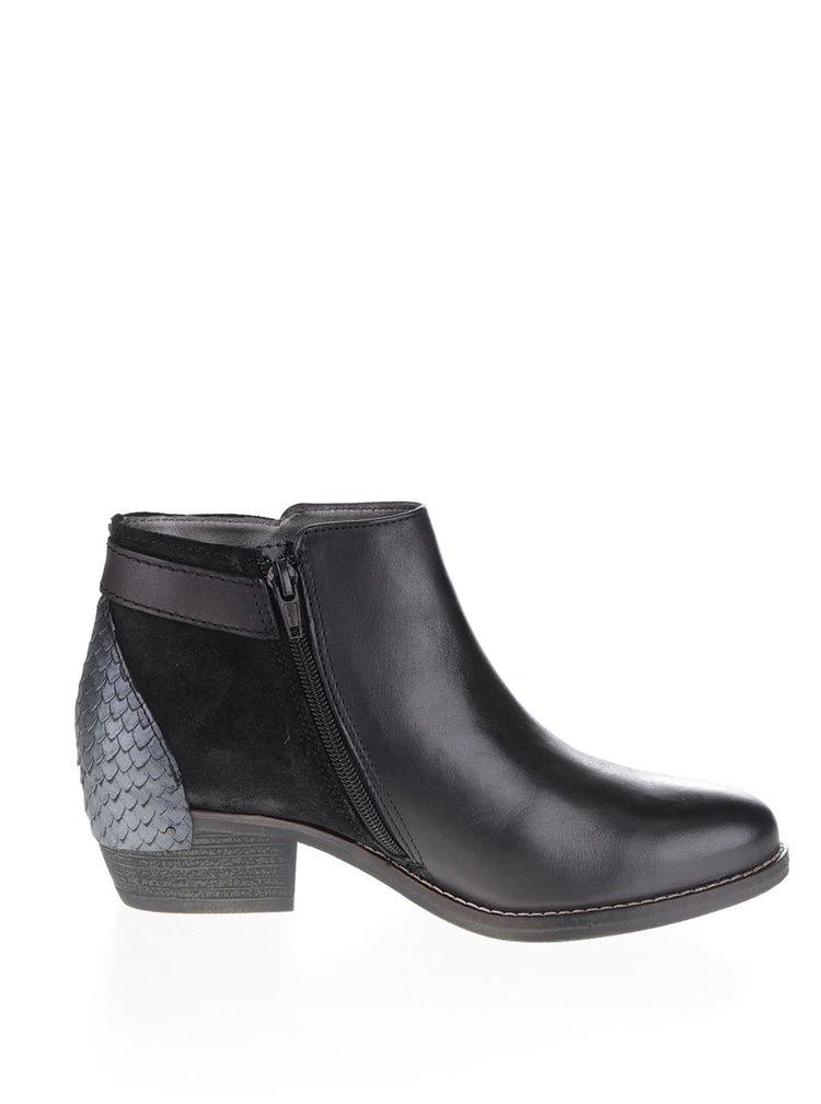 Černé dámské kožené kotníkové boty s přezkou bugatti Lusie