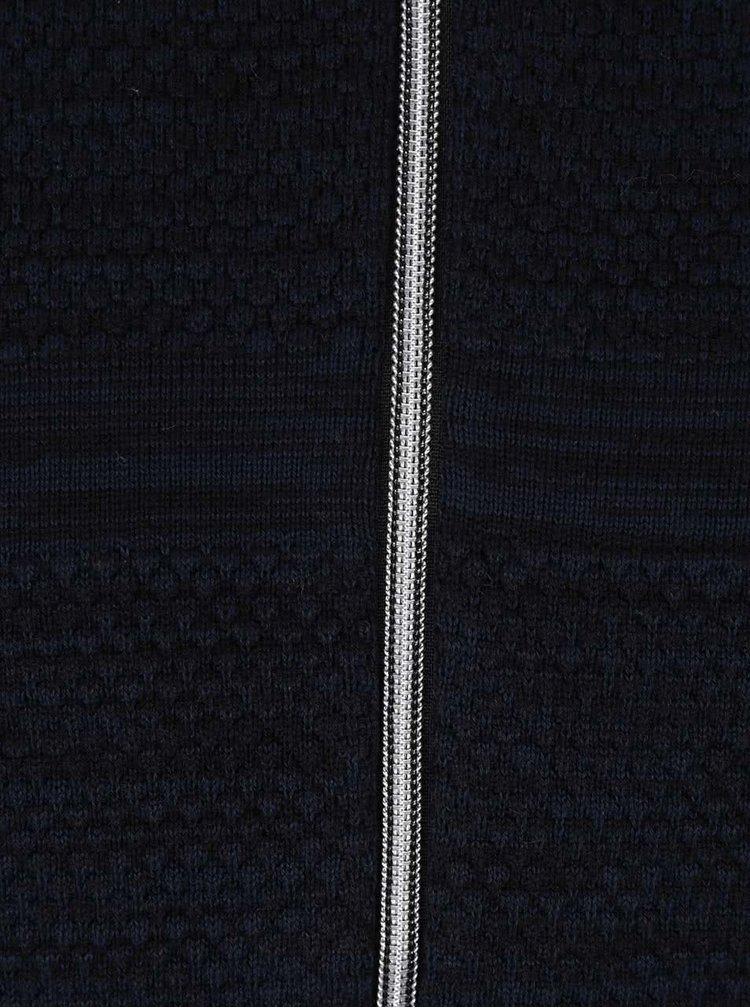 Tmavě modrý žíhaný svetr na zip Jack & Jones Arto