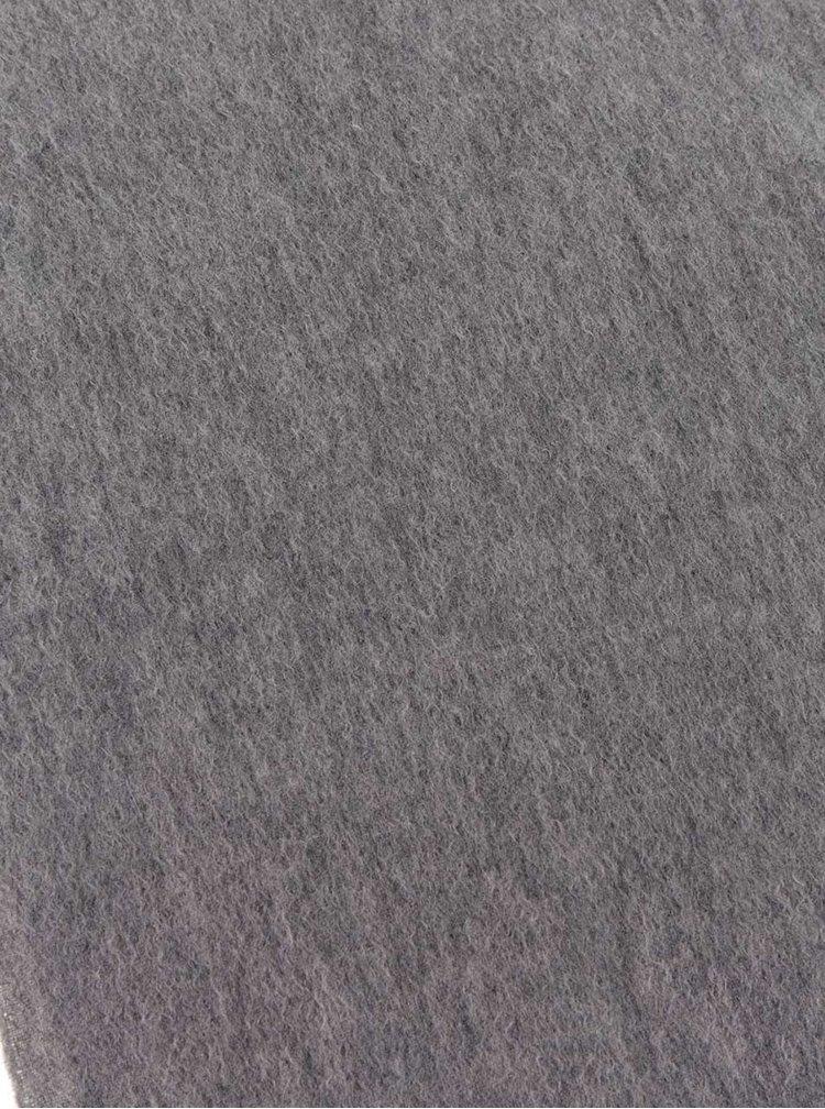 Fular gri melanj din lână Jack & Jones Prm cu franjuri