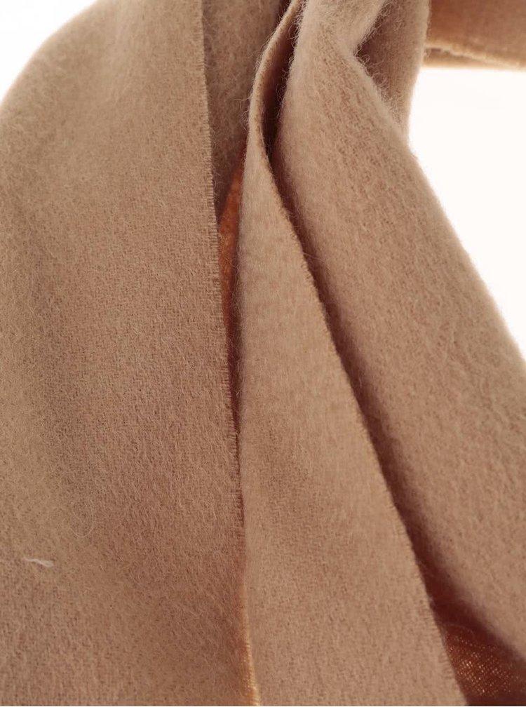 Fular maro din lână Jack & Jones Prm cu franjuri