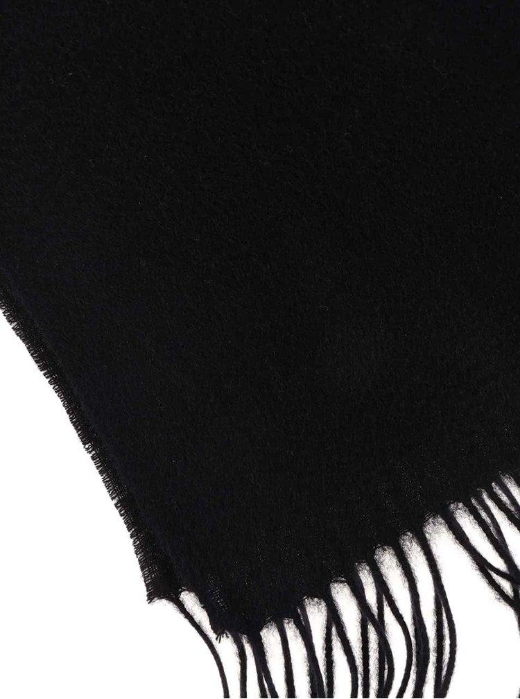 Černá vlněná šála s třásněmi Jack & Jones Prm