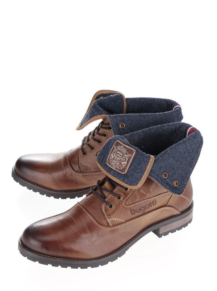 Hnědé pánské kožené kotníkové boty s ohrnutým lemem bugatti Freetime