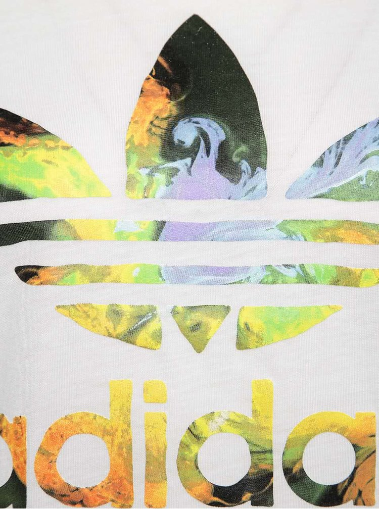 Tricou alb adidas Originals cu logo multicolor