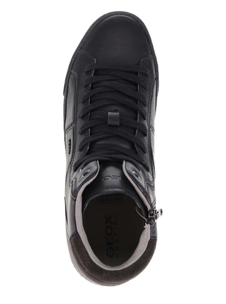 Černé pánské kožené kotníkové tenisky Geox Smart K