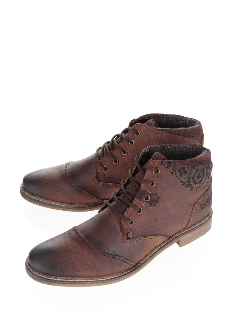 Tmavě hnědé pánské kožené kotníkové boty s detaily bugatti Vanity Evo