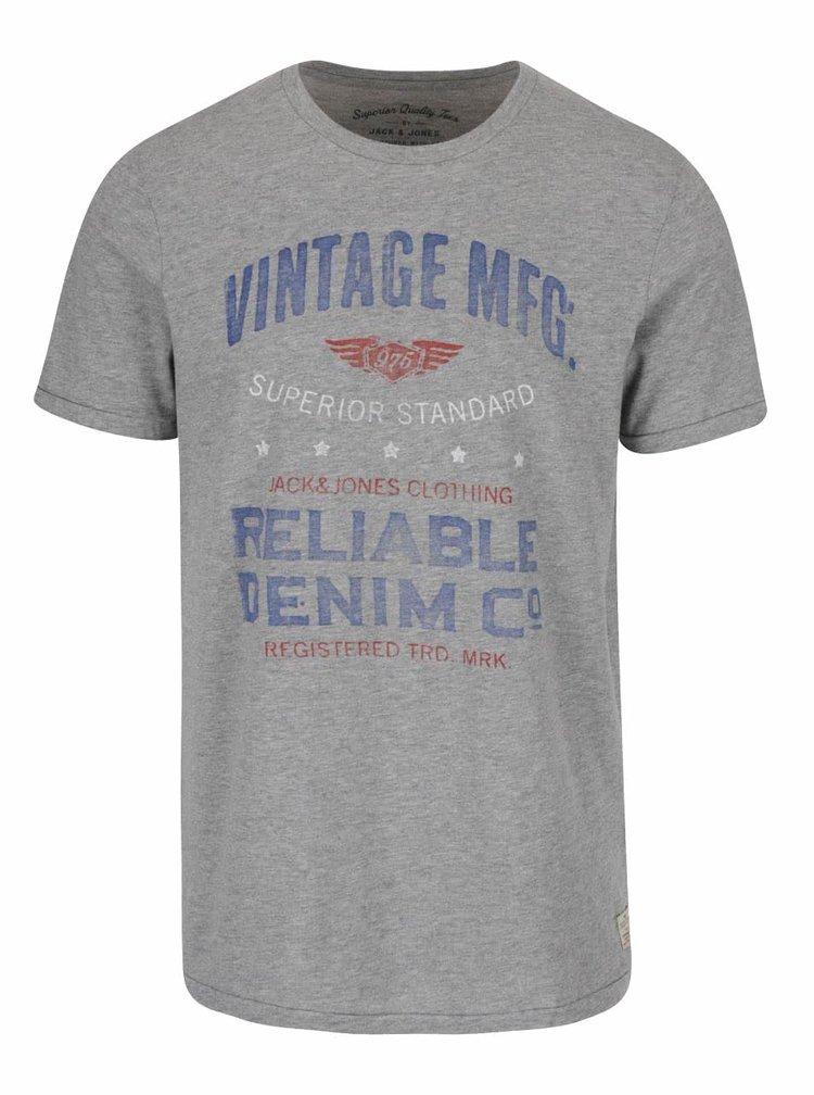 Šedé triko s potiskem Jack & Jones Custom