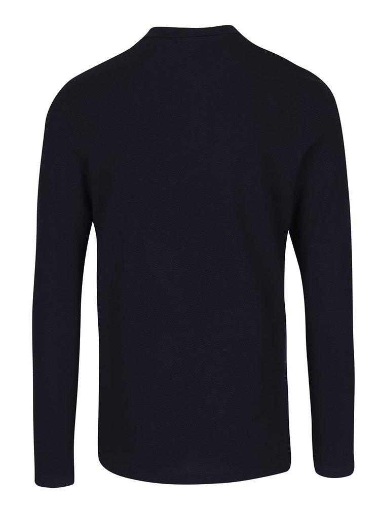 Tmavě modré polo triko s dlouhým rukávem Jack & Jones Bright
