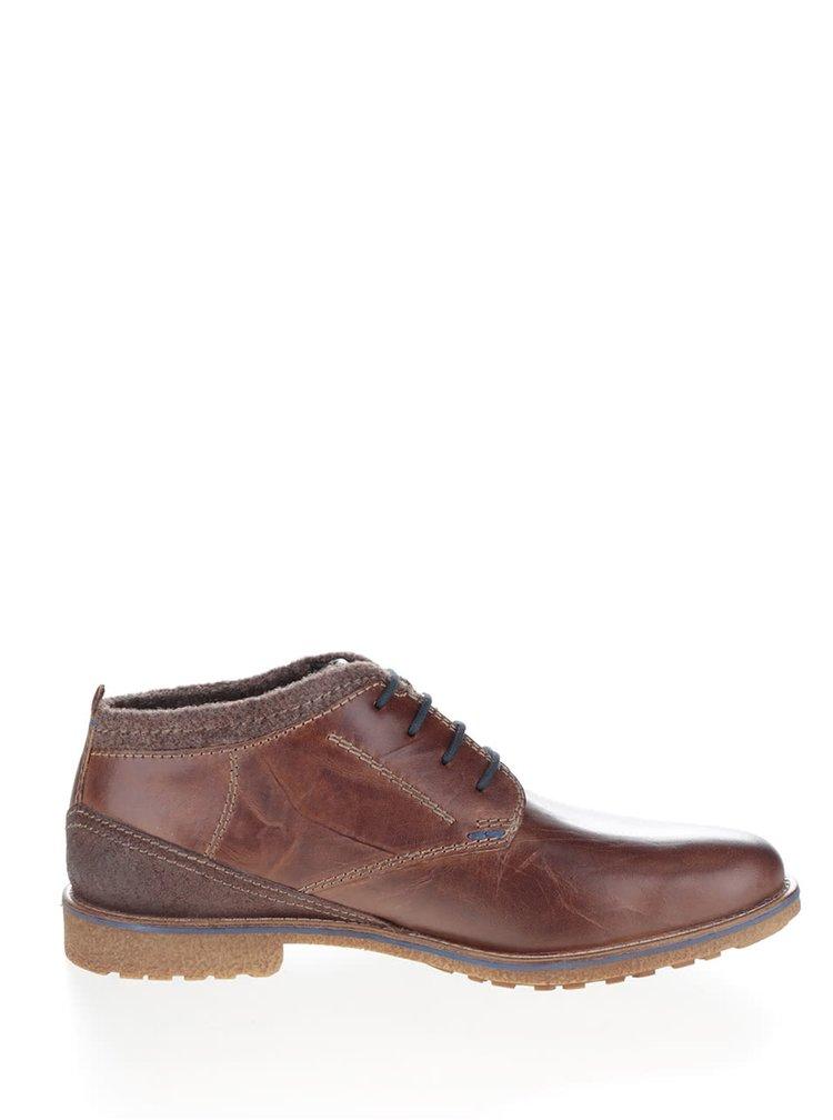 Pantofi maro din piele cu detalii contrastante bugatti Muno pentru barbati