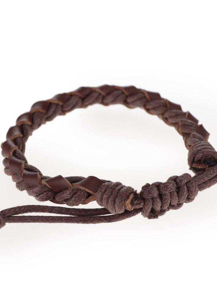 Hnědý kožený pletený náramek Jack & Jones Wood