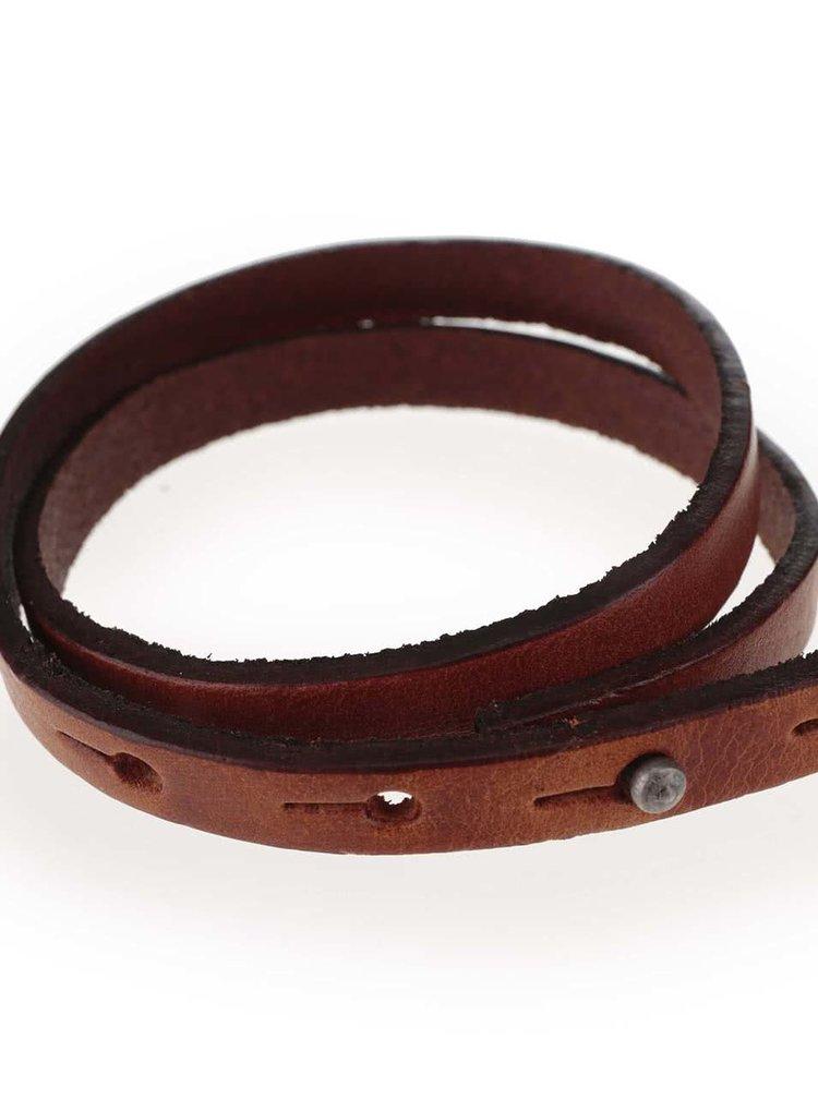 Hnedý kožený náramok Jack & Jones Jack