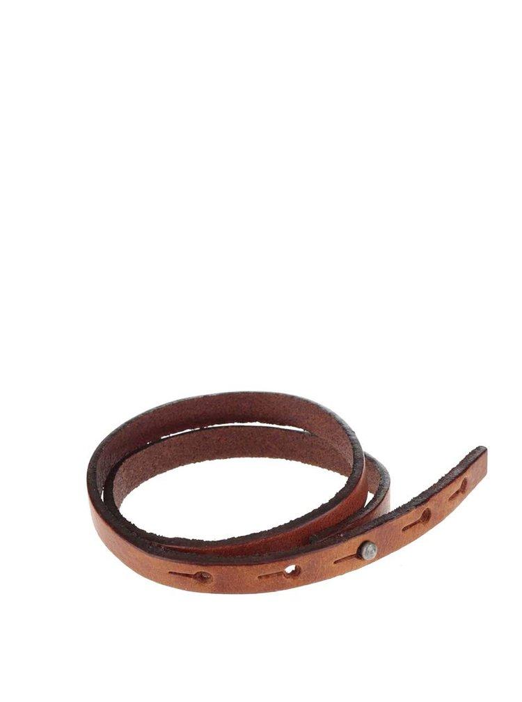 Hnědý kožený náramek Jack & Jones Jack