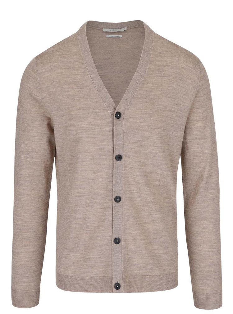 Cardigan maro deschis Jack & Jones Mark din lana