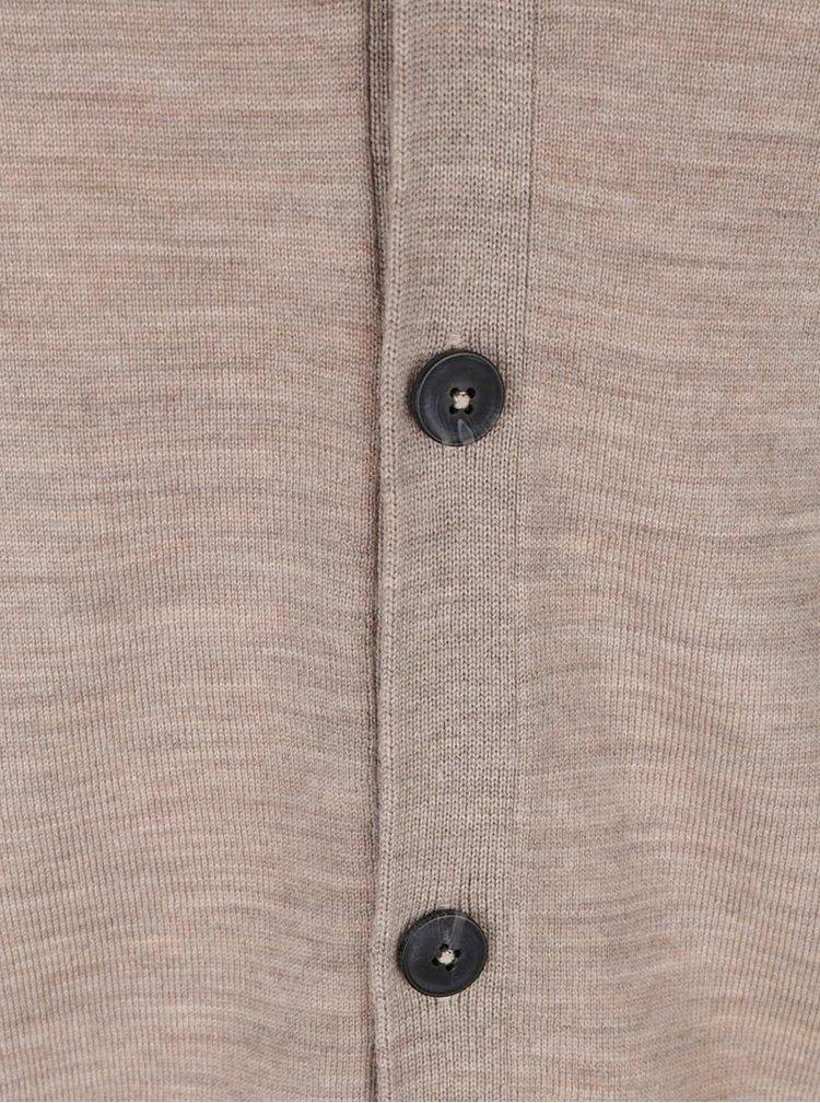 Světle hnědý lehký cardigan z Merino vlny Jack & Jones Mark