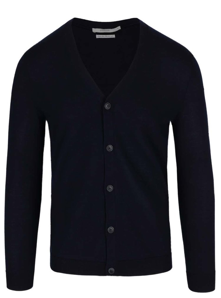 Cardigan bleumarin Jack & Jones Mark din lână
