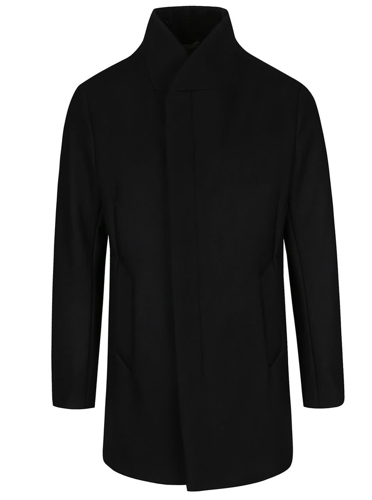 Palton negru Jack & Jones Gotham cu guler înalt