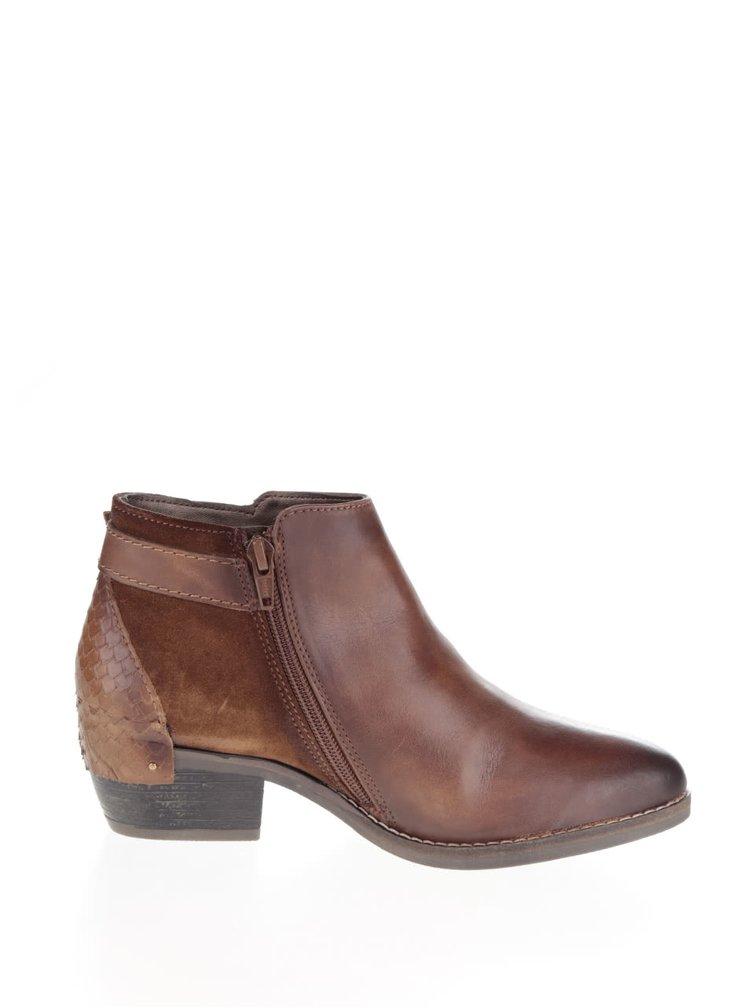 Hnědé dámské kotníkové boty s přezkou bugatti Lusie
