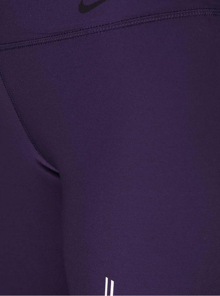 Tmavofialové dámske legíny s potlačou Nike Power Legend