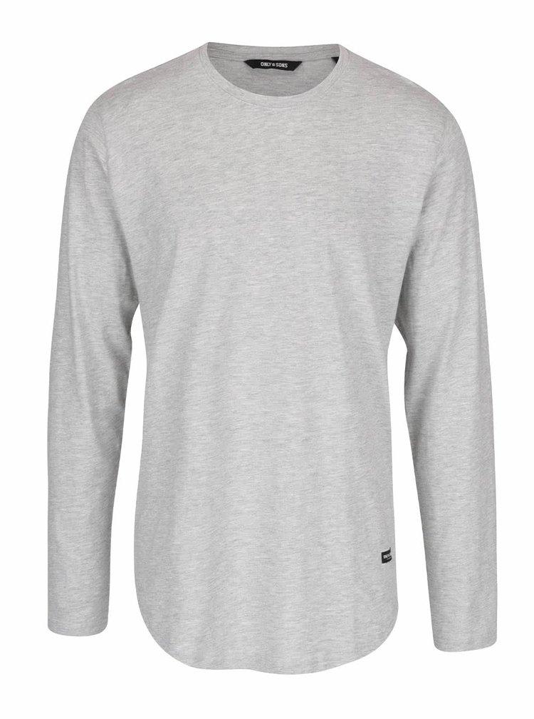 Světle šedé žíhané triko s dlouhým rukávem ONLY & SONS Matt