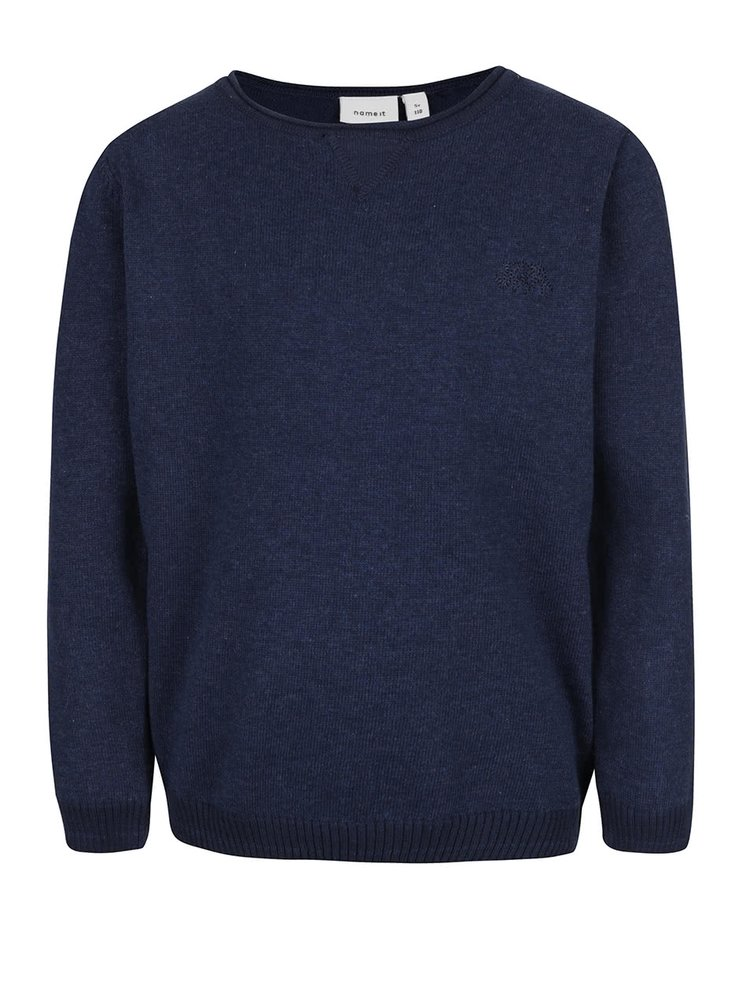 Tmavě modrý klučičí svetr s žebrovanými lemy name it Seras