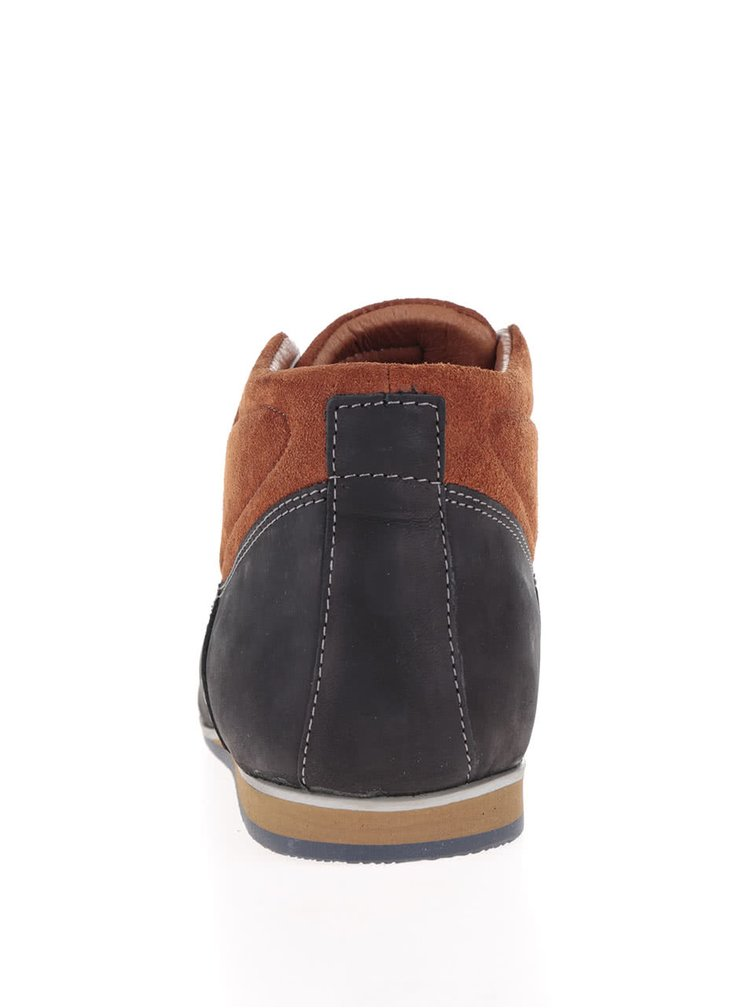 Černé pánské kožené kotníkové boty OJJU