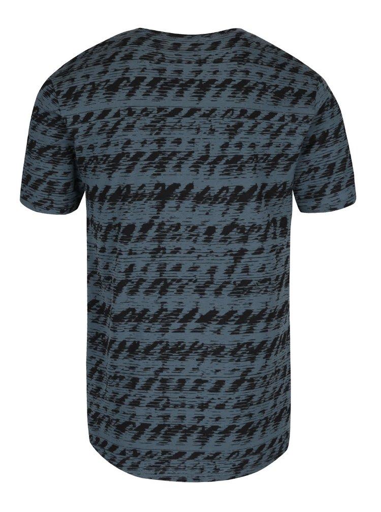 Šedomodré triko s černým vzorem ONLY & SONS Azig