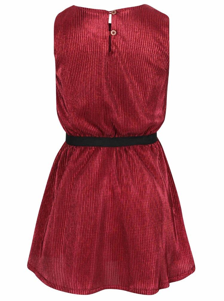 Červené holčičí plisované lesklé šaty name it Othili