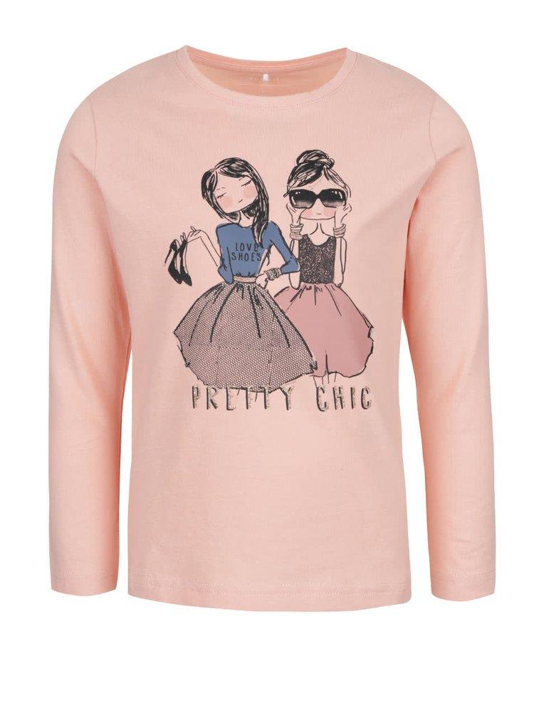 Svetloružové dievčenské tričko s potlačou a dlhým rukávom name it Kalise