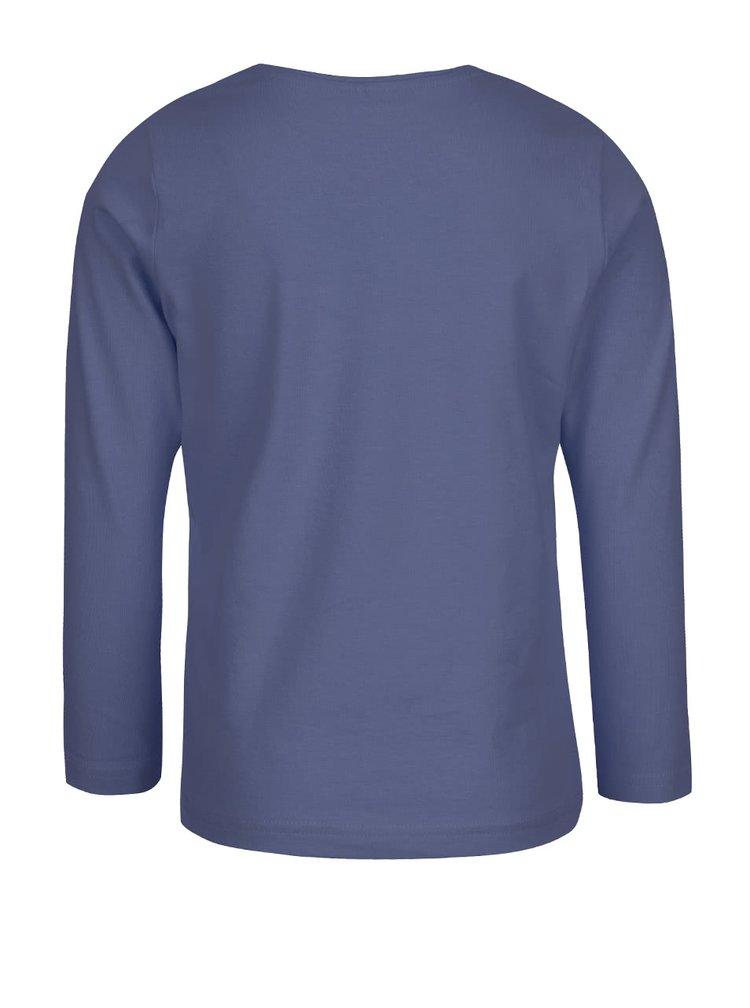 Tmavě modré klučičí triko s potiskem a dlouhým rukávem name it Victor