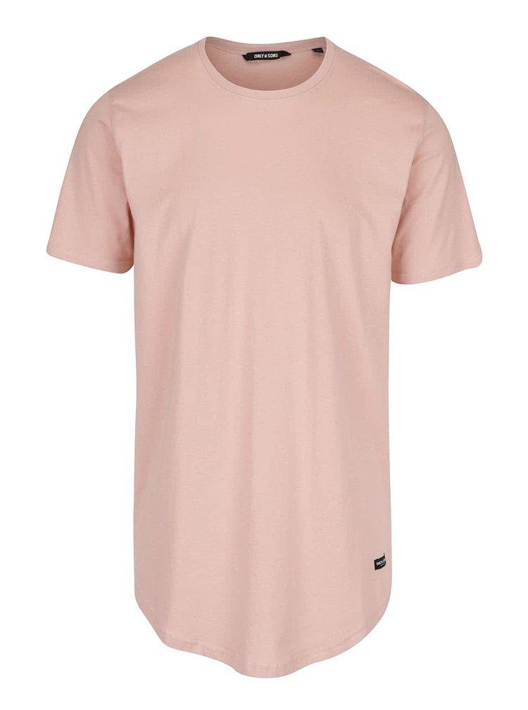 Světle růžové dlouhé triko ONLY & SONS Super Long