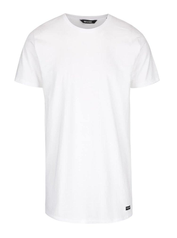 Biele dlhšie tričko ONLY & SONS Long